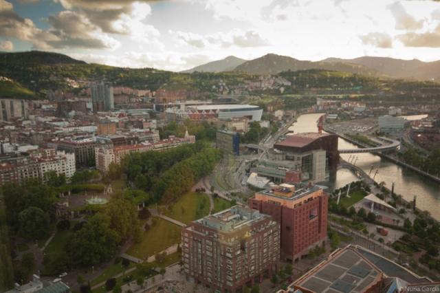 Vistas del Palacio y del Puente Euskalduna, del Hotel Melia....