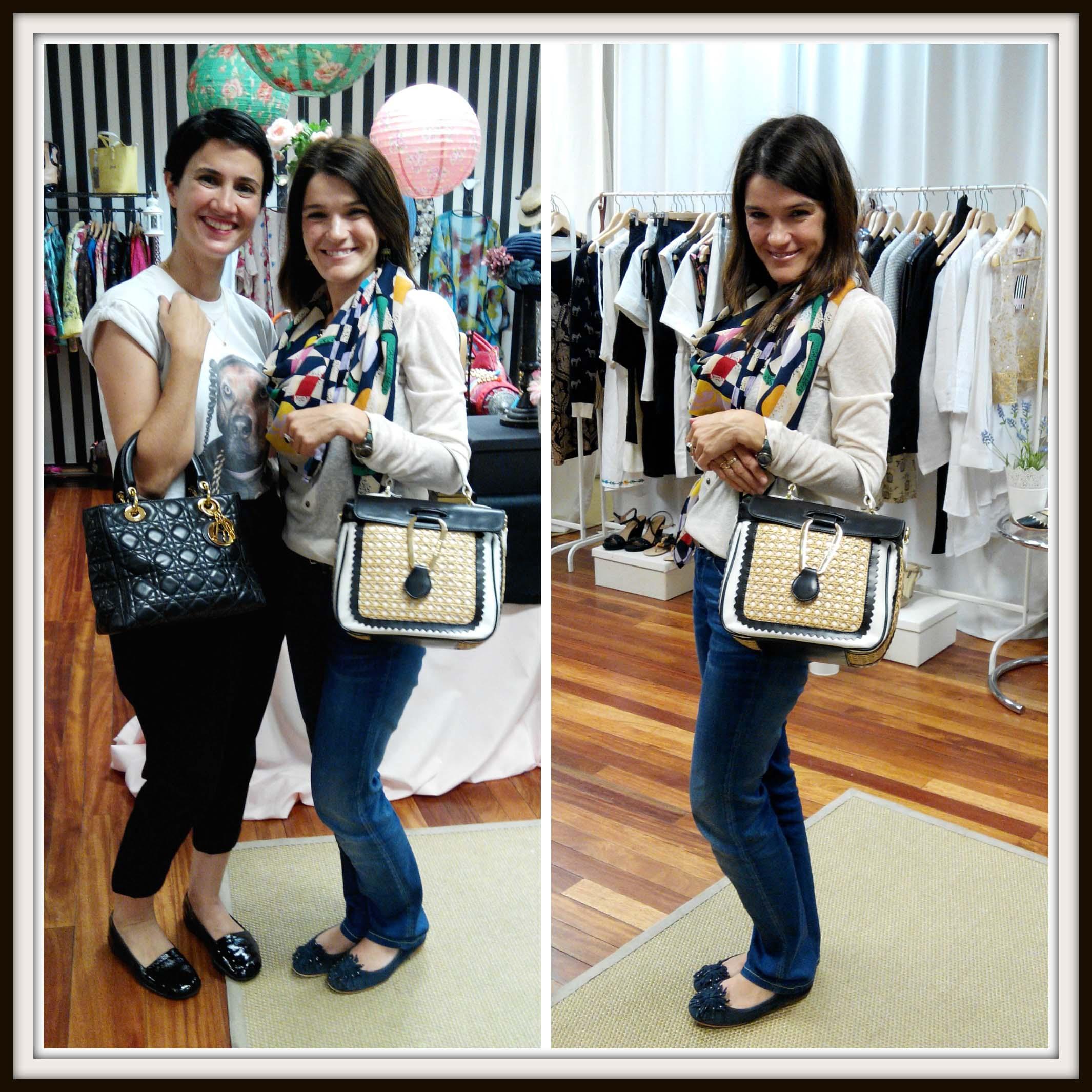 Nora de Back to trendy con un bolso de Christian Dior y yo con uno de Braccialini