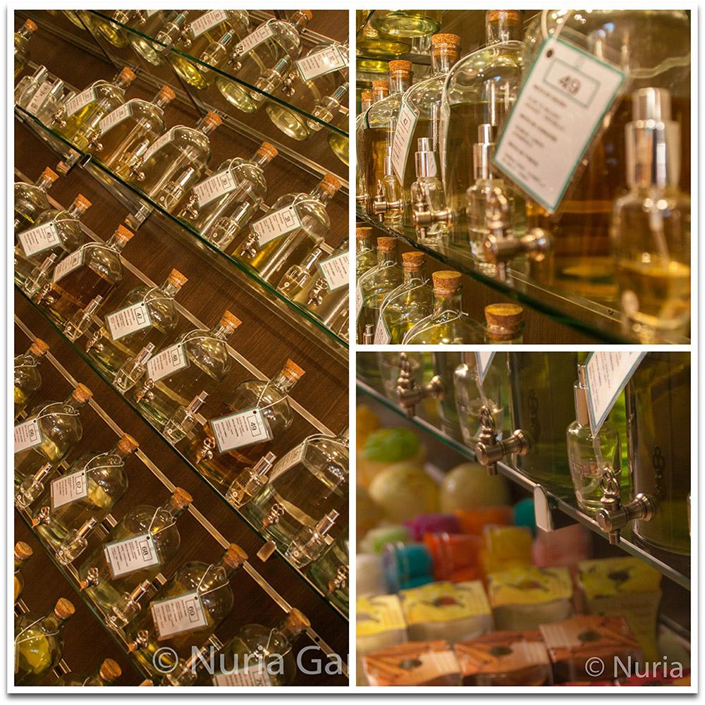 Botellas con los perfumes y jabones