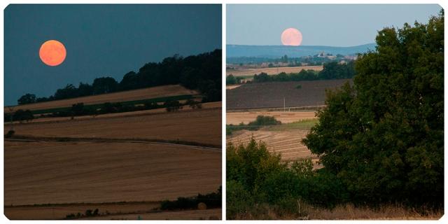 Luna espectacular en los valles cosechados de Castilla