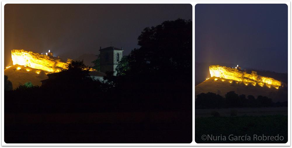 La Peña del barco de noche iluminada