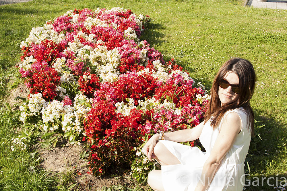 En un jardín de flores