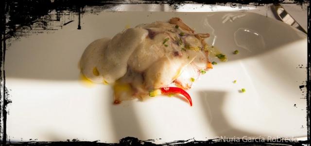 Láminas de pulpo con patata y espuma de cebolla