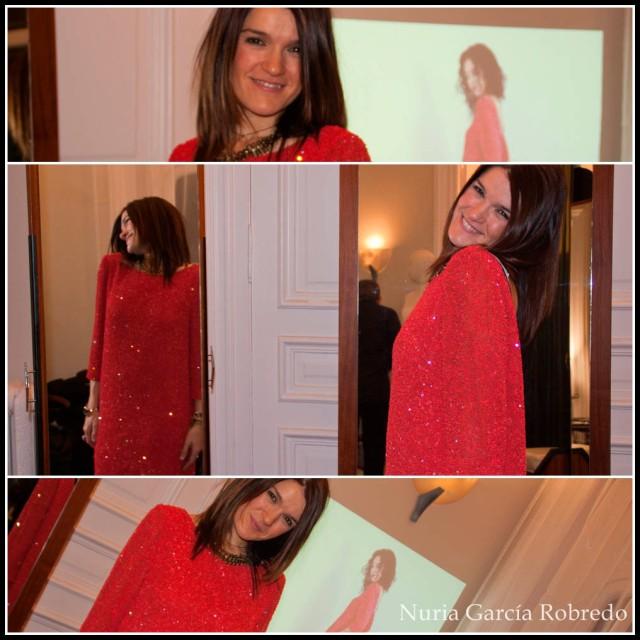 Nurilove con vestido rojo de lentejuelas, impresionante y muy fino