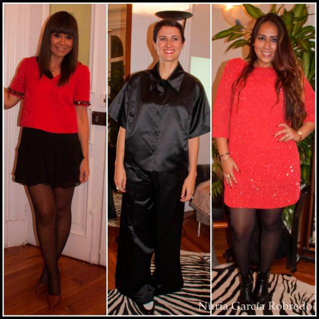 Probándonos sus diseños de izquierda a derecha Eli (La huella de mis tacones), Nora (Back to trendy) y Fiorella (Un rincón para mis botas)