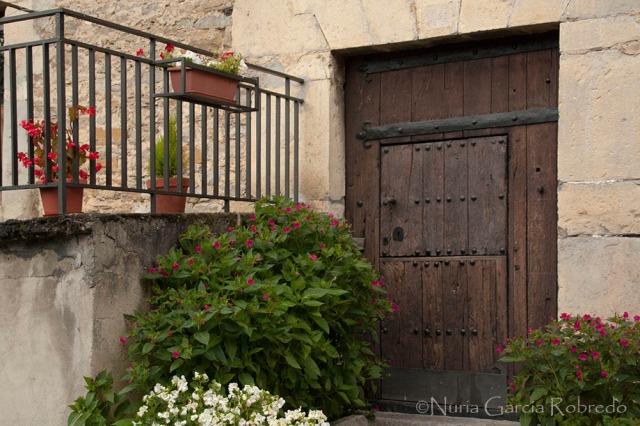 Puerta de madera maciza, antigua con bonitas macetas
