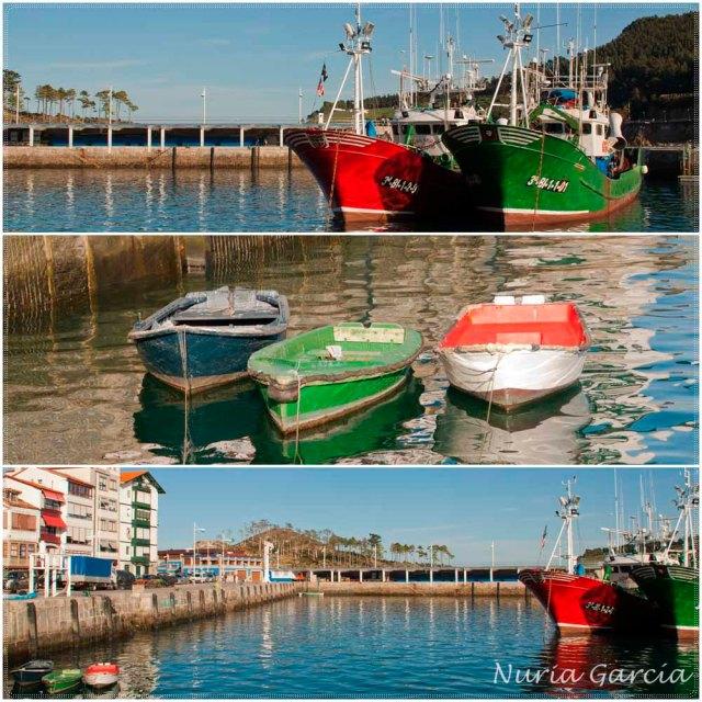 Barcos de pesca y barcas en el puerto pesquero de Lekeitio