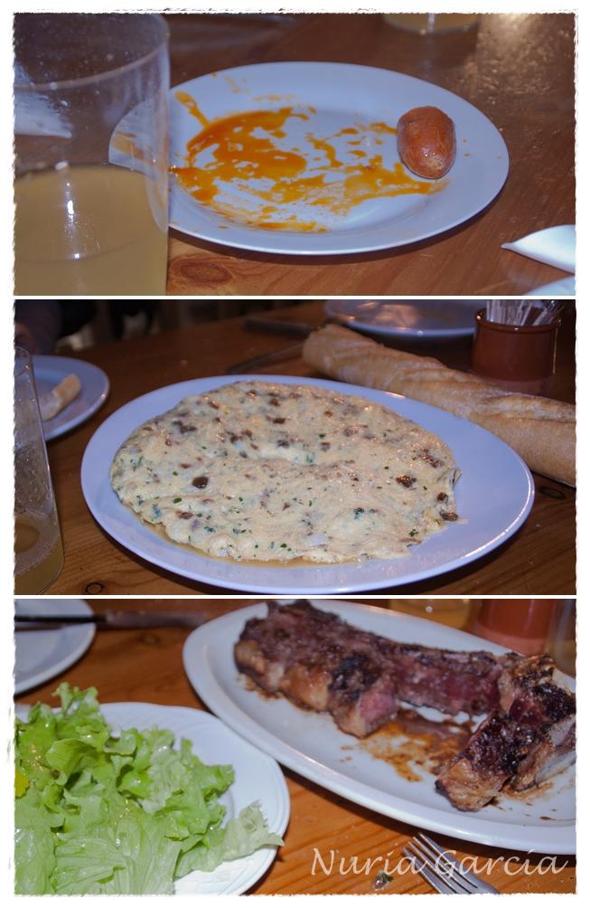 Menú: chorizo a la sidra, tortilla de bacalao y txuleton
