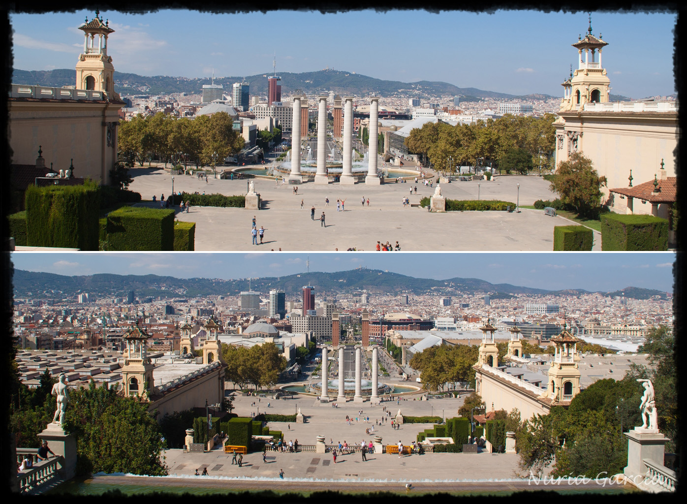 Vistas hacia la Plaza de España desde lo alto del Palacio de Montjuic