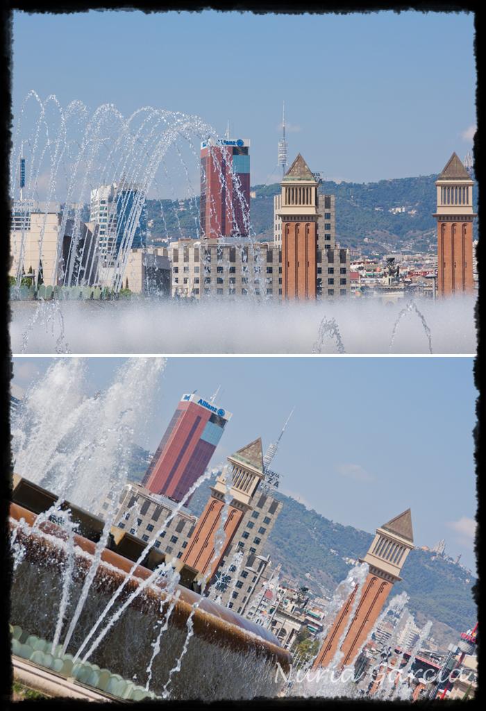 Juegos de la fuente de Montjuic con las torres de la Plaza de España