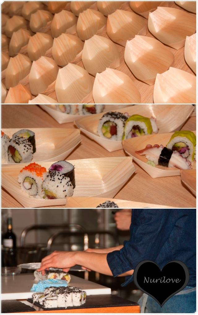 Preparando el sushi para el cocktail
