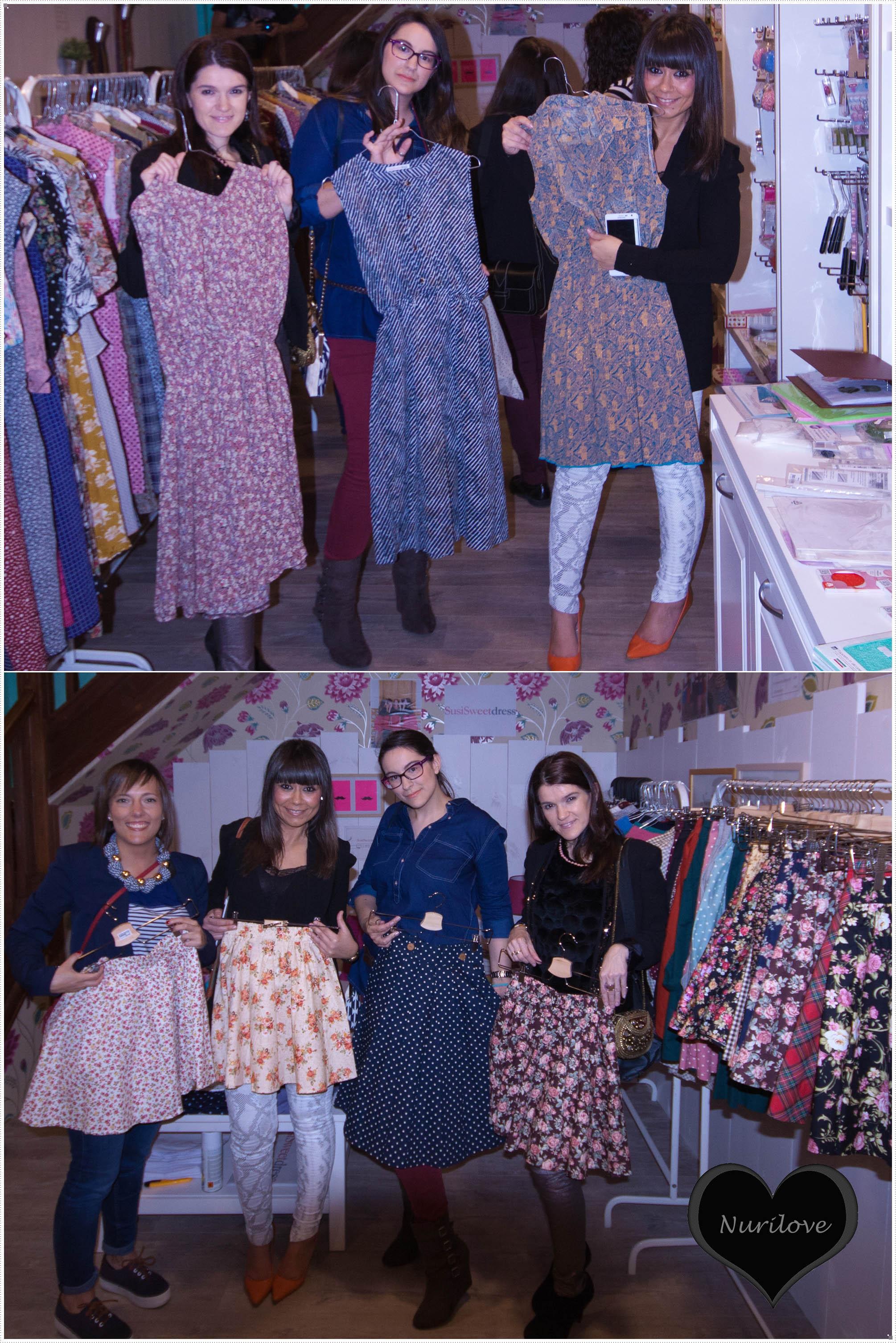 Eli (La huella de mis tacones), Iratxe (Bilbaopasarela), Tamara (Mi armario de papel) y servidora mostrandoos algunos de los modelos