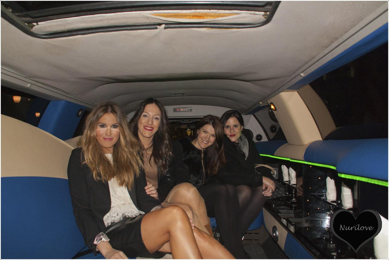 En la limusina con Esti, Ariane y una amiga